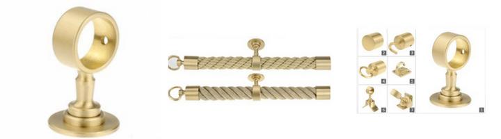 Kovinski zaključki in nosilci za vrv, medenina mat