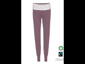 EKO Bombažne Ženske hlače /yoga - VIJOLIČNA & BELA tisk