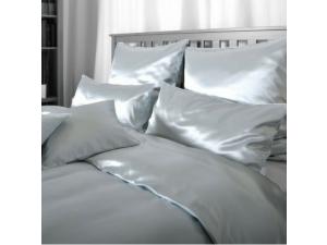 SATEN Svilena posteljnina, Srednje težka svila - MODRA - sijaj/mat / 28 momme (mm)