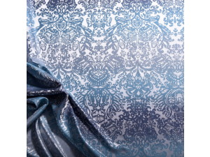 Žakard Svileno blago, Težka svila - OCEAN BLUE - (širina 280 cm) / 31 momme (mm)